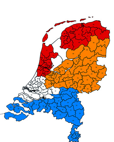 Verdeling NL postcodes per accountmanager